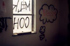 film photograph abandoned junk rubbish graffiti pussy