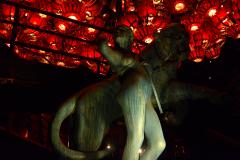 bronze statue woman lion