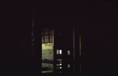 film photograph dark shadows chiaroscuro abandoned building water puddle flooding reflection