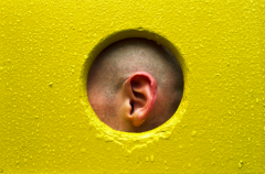 film photograph portrait playground man yellow rain water droplets ear framed hole