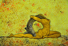 painting oil surreal portrait nude figure female woman contortion back bend arch half split giraffe head neck textured background gold