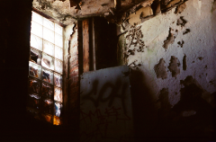 abandoned building film photograph window peeling paint