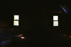abandoned building film photography dark shadow windows chiaroscuro