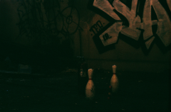 abandoned building film photograph church urbex bowling pins graffiti