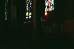 abandoned building film photograph church urbex stained glass graffiti