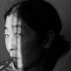 film photograph portrait black and white sunlight chiaroscuro shadow yoko onno doppelganger
