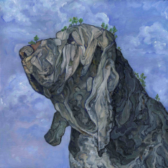 oil painting surrealism landscape nature mountain rocky double take dog hound trees sky blue clouds