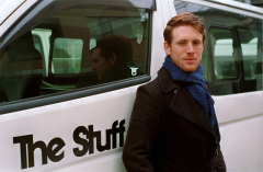 film photograph portrait young man red hair ginger blue scarf handsome the stuff van