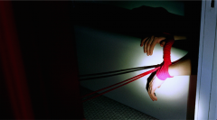 film photograph chiaroscuro light portrait darkness hands bathtub sink pipe bathroom tied red rope shibari bondage