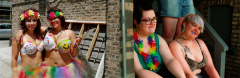 film photograph portrait diptych pride lgbt queer parade summer fest celebration rainbow hair flowers studs lei tutu cute girls