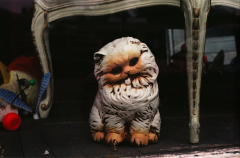 film photograph cat kitten statuette home decor kitsch retro cute creepy