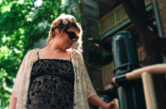 film photograph portrait young woman bokeh dreamy outside lace sunglasses