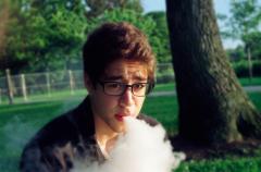 film photograph portrait park summer nature young man vape vapelife fat clouds hapa