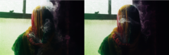 surrealist film photograph bokeh basement window mysterious figure shrouded shawl colorful scarf veil smoke diptych