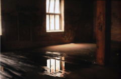film photograph abandoned building urbex water puddle floor wooden reflection shadow dark light chiaroscuro