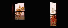 film photograph abandoned building urbex graffiti dark light shadow chiaroscuro