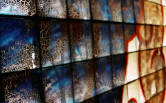 film photograph abandoned building urbex graffiti wall crackle texture colorful glass
