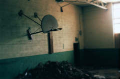 film photography urbex abandoned ruinporn school gym basketball court crumbling debris