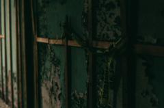 film photography urbex abandoned ruinporn caution tape peeling paint wall