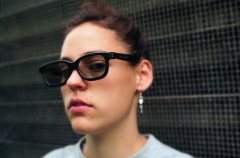 film photograph portrait young woman real 3d glasses