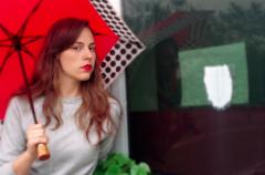 film photograph portrait young woman red lipstick umbrella