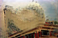 film photography prism lens trippy city building graffiti