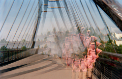 film photography prism lens fractal trippy psychedelic spiral bridge man standing