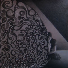 mixed media charcoal colored pencil toned paper portrait chiaroscuro dark light shadow young man crouching