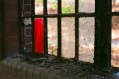 film photography urbex abandoned ruinporn crumbling debris king's park asylum  window red glass