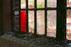 film photography urbex abandoned ruinporn crumbling debris king's park asylum  window red glass