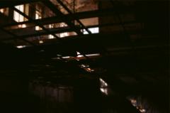 film photography urbex abandoned ruinporn crumbling debris king's park asylum  shadows ceiling beams chiaroscuro
