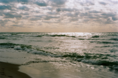 film photography ocean sunset