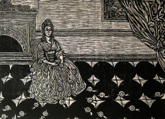 woodcut reduction print printmaking black and white portrait surrealism surrealist lady sitting parlor old fashioned dress tiles snails fireplace curtain
