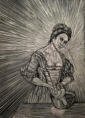 woodcut reduction print printmaking black and white portrait surrealism surrealist lady washing maid old fashioned snail bowl mona lisa smile