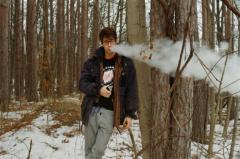 young man winter snow nature vape vaping vapelife fat clouds hapa