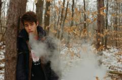 young man winter woods nature vape vaping vapelife fat clouds hapa