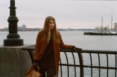 film photograph portrait young woman long hair blonde bokeh manhattan waterfront