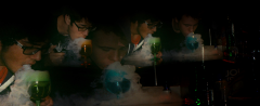 film photograph portrait three young men vape glass clouds