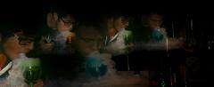 film photograph portrait three young men vape glass clouds