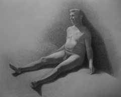 figure drawing graphite charcoal tonal toned paper