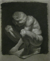 cast drawing charcoal black white tonal crouching boy statue