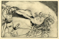 intaglio drypoint portrait young woman lying down eyes closed