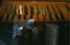 film photograph lomography double exposure toy camera knives kitchen display fire hydrant
