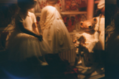 film photograph lomography double exposure toy camera dolls shop window teddy bear creepy