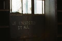 film photography urbex abandoned crumbling debris ruinporn graffiti we collected it all door