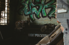 film photography urbex abandoned crumbling debris ruinporn  graffiti love machine machinery