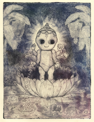 intaglio print etching spitbite  hard ground kewpie doll surrealism jungle banana tree lotus diamond cash credit card gold wealth pearls water