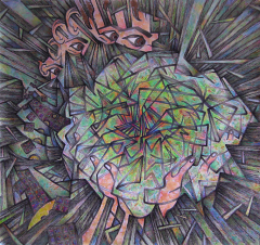 drawing ink watercolor colored pencil neon cubist fractal psychedelic sneeze person eyes splintered