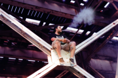 film photograph young man railroad train tracks scaffolding sitting vape cvn