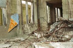 film photography urbex abandoned ruinporn crumbling debris gary indiana union station ice cream graffiti